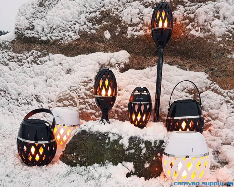 Lampe Helios flammelampe m/blåtann LED svart